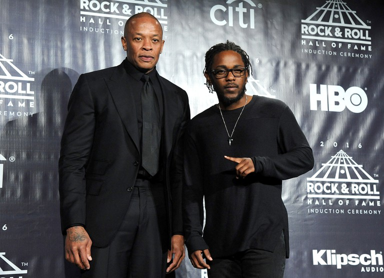 Kendrick Lamar and Dr Dre at the 31st Annual Rock and Roll Hall of Fame