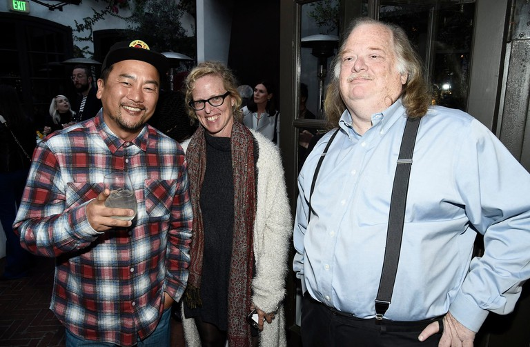 Jonathan Gold (right) with chef Roy Choi and 'Los Angeles Times' food editor Amy Scattergood in 2017
