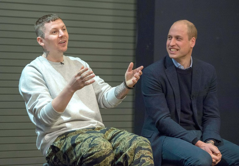 Prince William and rapper Professor Green made an unannounced visit to Burlington Academy and surprised children taking part in an assembly on cyberbullying and its effect on young people's mental health.