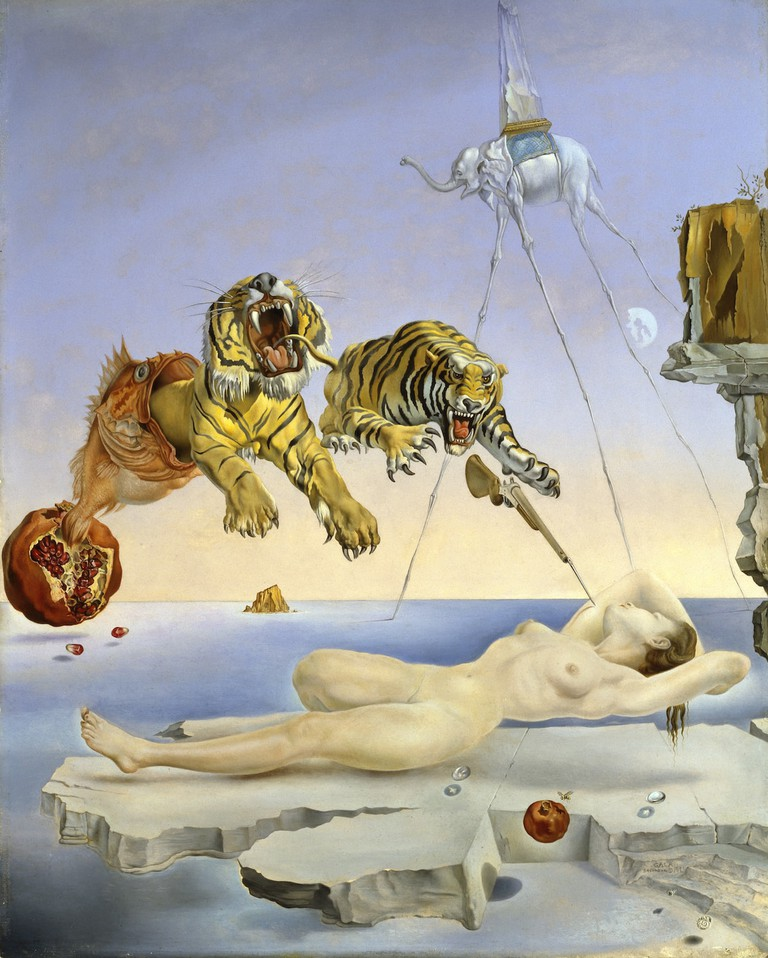 Somni causat pel vol duna abella al voltant duna magrana un segon abans de despertar by Salvador Dali