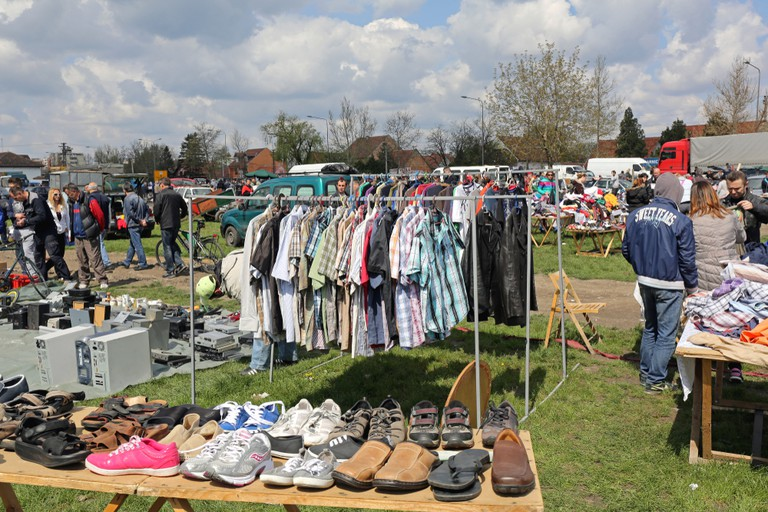 Second Hand Clothes Sale at Flea Market in Pancevo, Serbia.