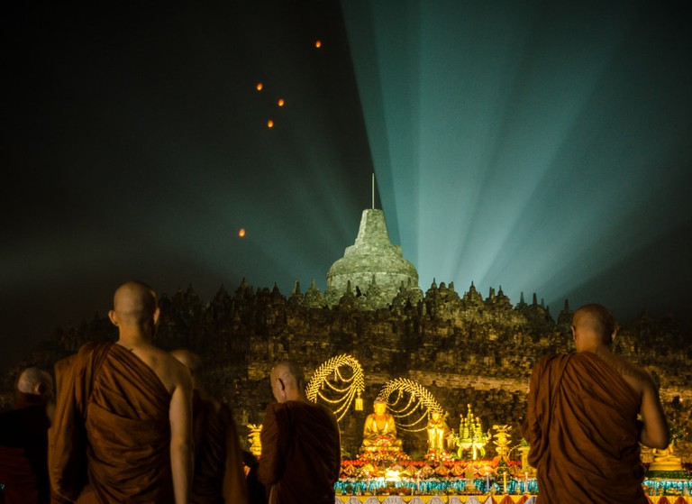 Borobudur temple during vesak day, Magelang, Indonesia.