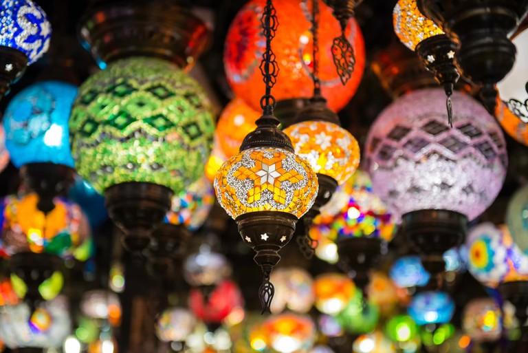 Turkish mosaic lamps at Manama, Bahrain.