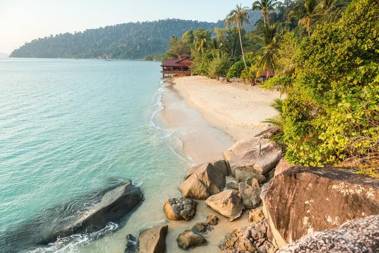 Deserted beach on Pulau Tioman, Malaysia.