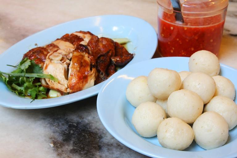 Chicken rice balls in Melaka, Malaysia.