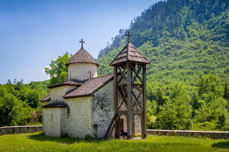 The Dobrilovina Monastery, an old Orthodox monastery in Donja Dobrilovina, Montenegro.