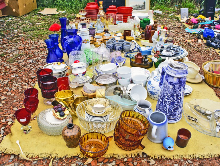 Various glass and ceramics on display at Zrenjanin Serbian flea market