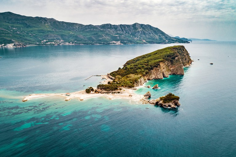 Aerial view of Sveti Nikola Island near Budva city at Adriatic Sea in Montenegro.