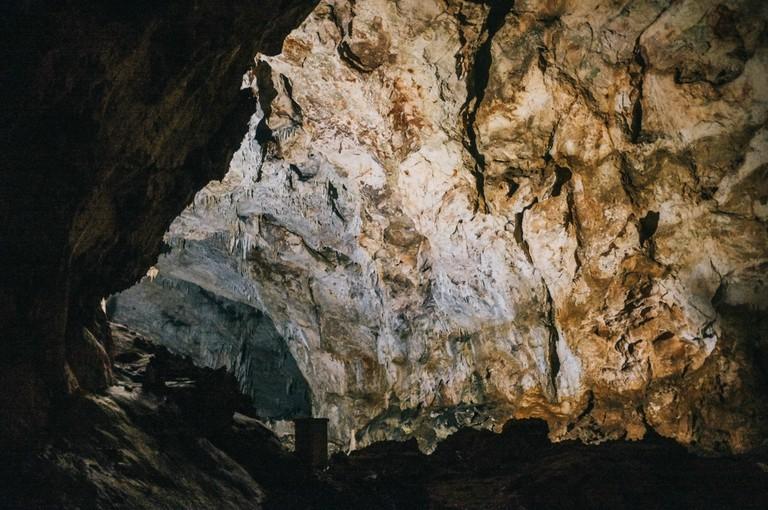 Stalagmites and stalactites in Lipa or Lipska Cave, Montenegro.