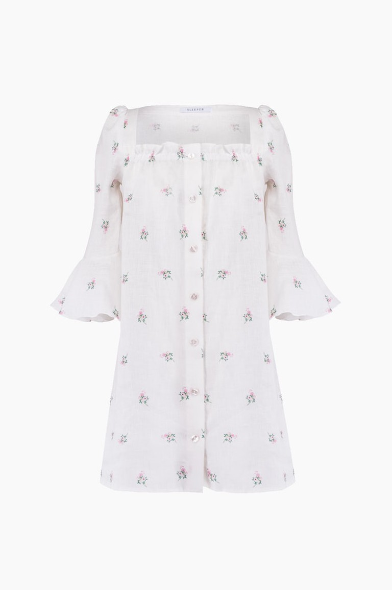 Sleeper-Jane-flower-print-mini-ruffled-sleeve-dress_290USD