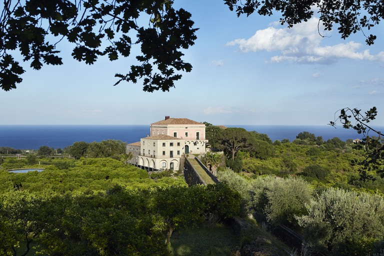 The villa sits above the Ionian sea