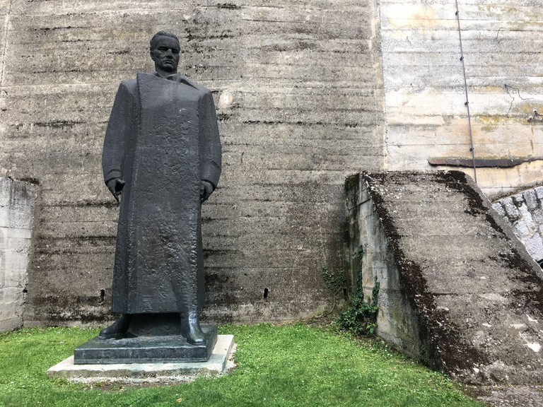 The statue of Josip Broz Tito stands by the entrance to the tunnels in Užice