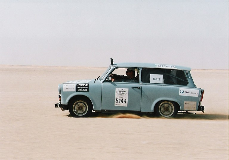 """""""An East German Trabant. It's only 600cc, like a toy car."""""""