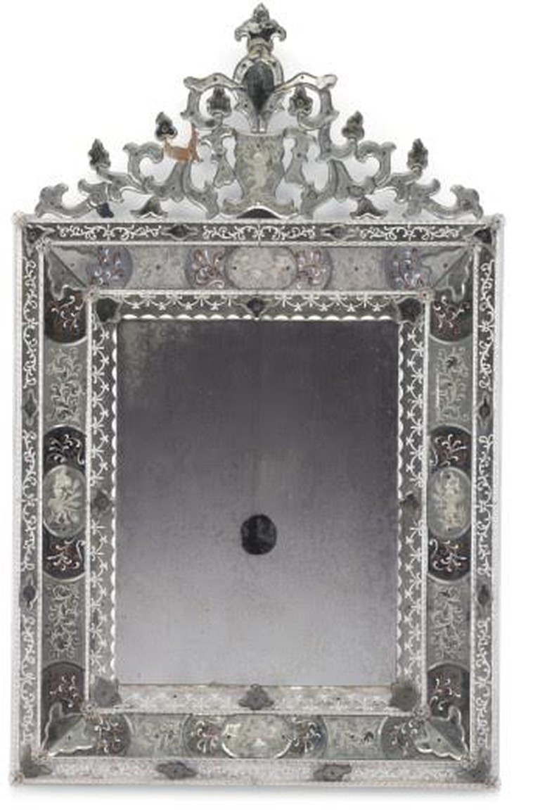 An Italian etched and enameled glass mirror, probably Venice, second half of the 20th century (est. USD$3,000-$5,000)
