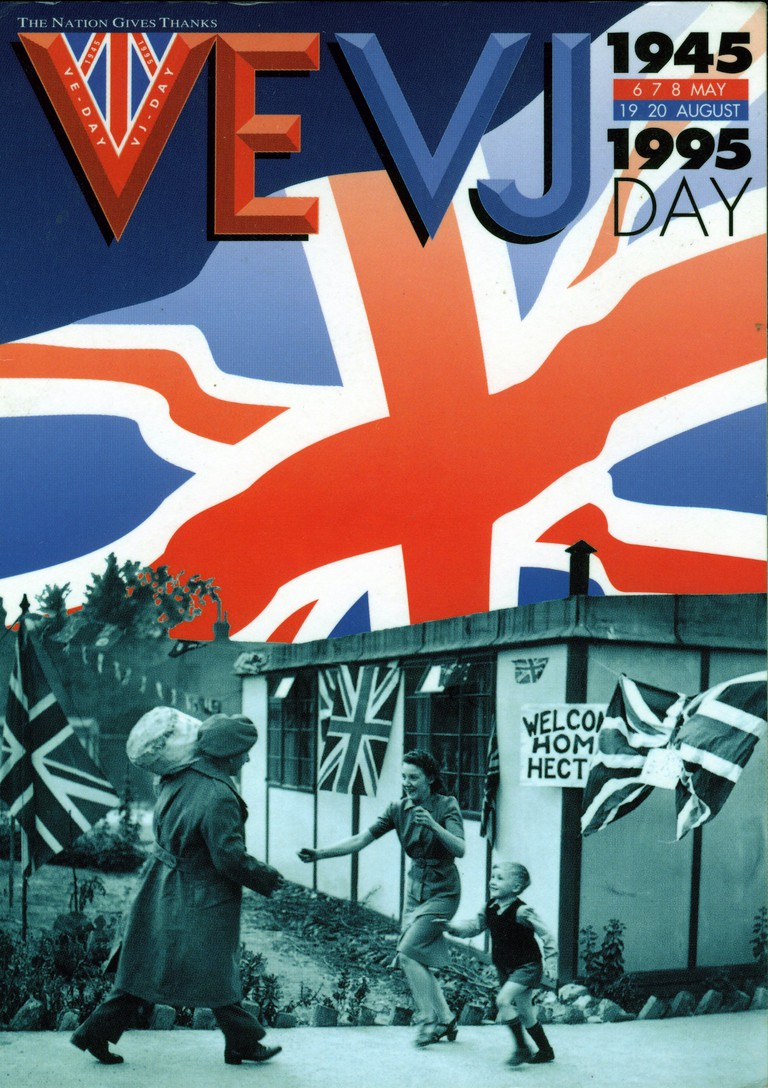 VEVJ 50th anniversary of VE Day poster, showing a prefab