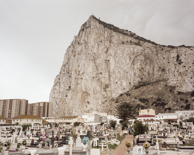 The Rock of Gibraltar in front of the North Front Cemetery, Gibraltar's sole working cemetery