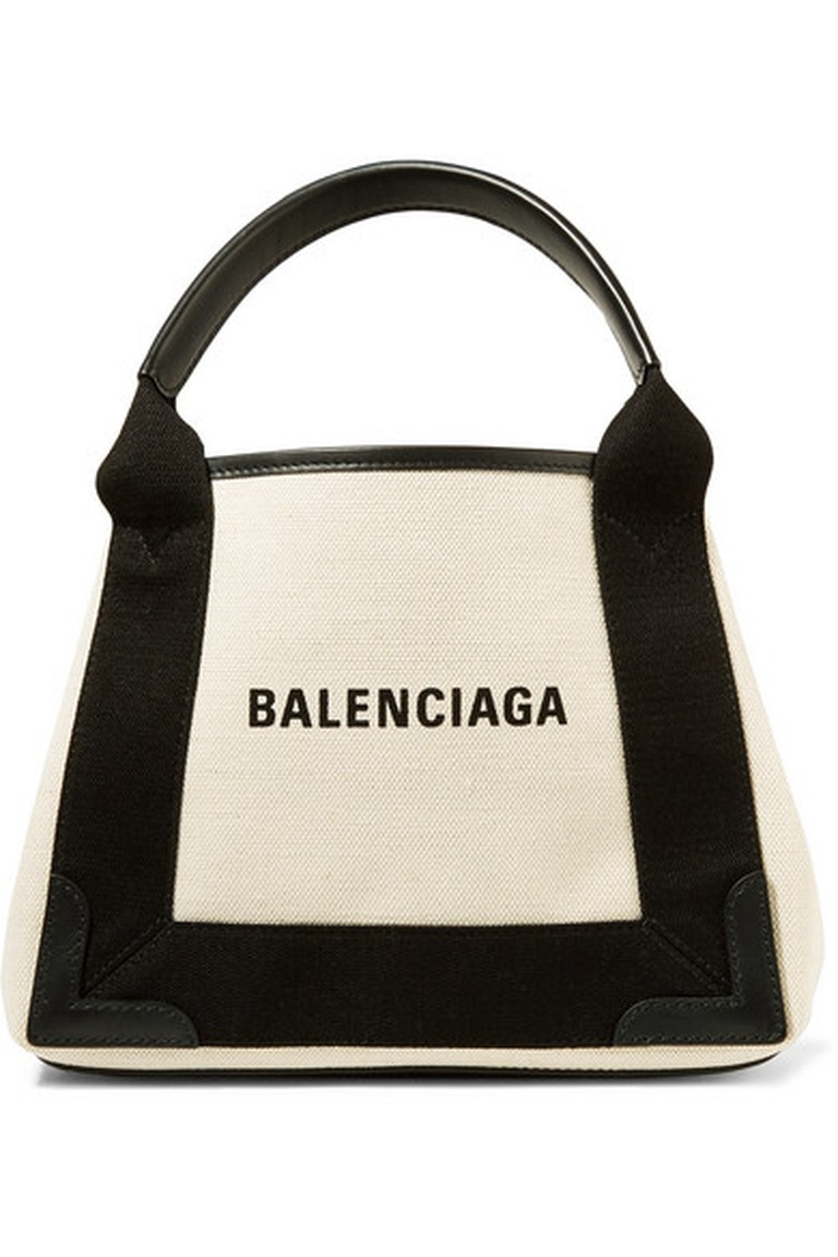 Balenciaga's leather-trimmed logo-print canvas tote