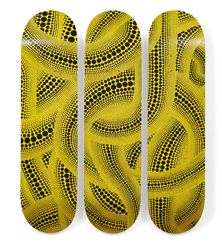 'Yellow Trees' skateboard triptych designed by Yayoi Kusama for MoMA