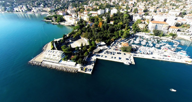 An aerial shot of Opatija's harbour