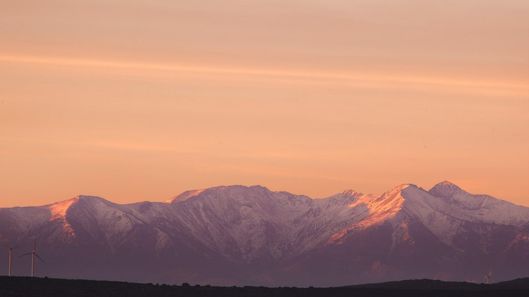 View of the Canigou mountain in the Pyrenees