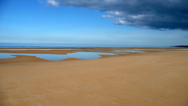 The golden sands of historic Omaha Beach