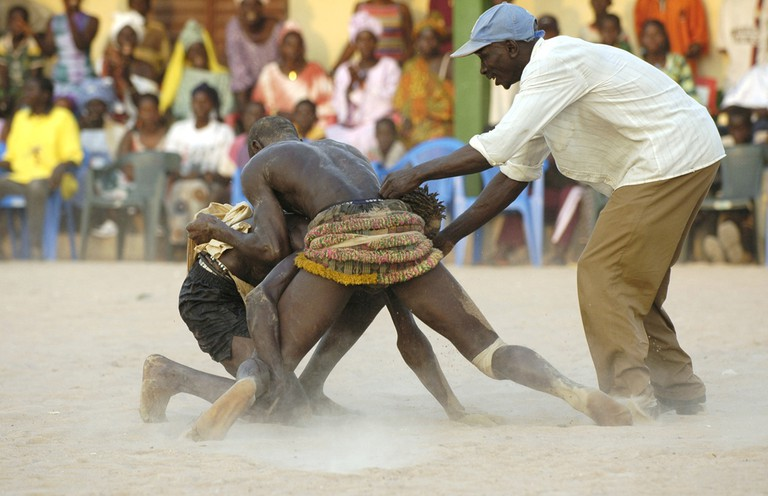 Wrestling match at Abn festival, Senegal