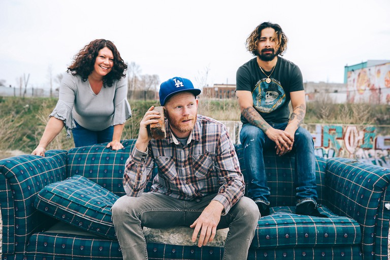 Debra Manville, Nathan Smith and Jason Pulgarin pose for a portrait outside Red Bull House Of Art, Residency 8 in Detroit, Michigan, USA on 27 April, 2018