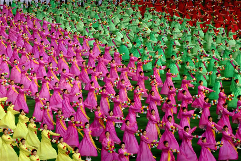 Dancers perform at the Arirang Festival commemorating the anniversary of Kim Il-sung's death