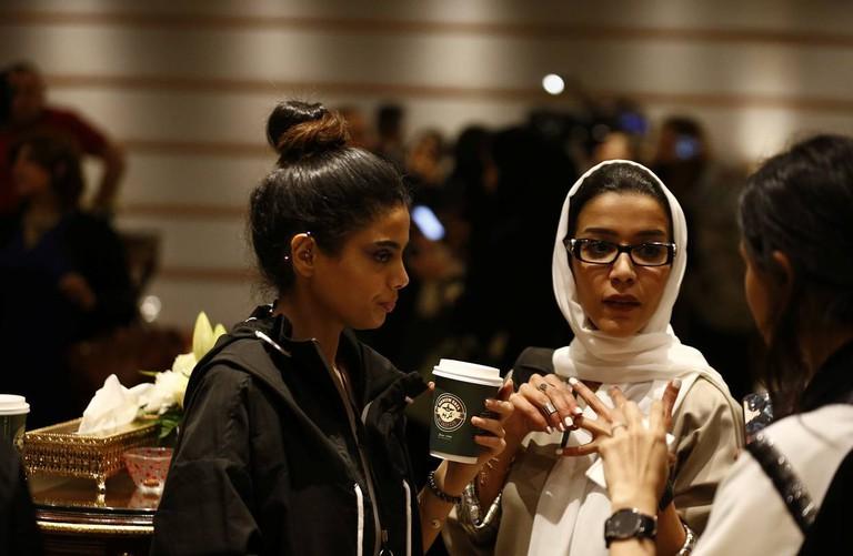 Women attend the first-ever Arab Fashion Week in Riyadh