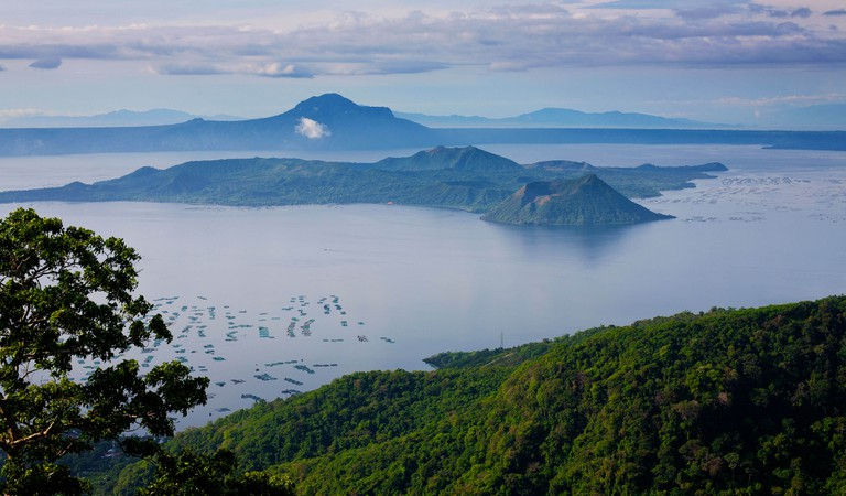 Volcano Island sits in the clear blue waters of Taal Lake in Cavite Province, Philippine Islands.