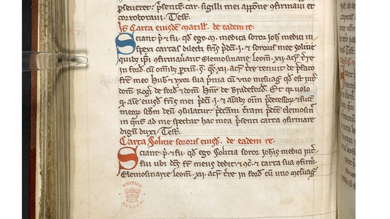 Detail from Record of Deeds indicating existence of female doctors, 13th century Leominster (c) British Library - Copy