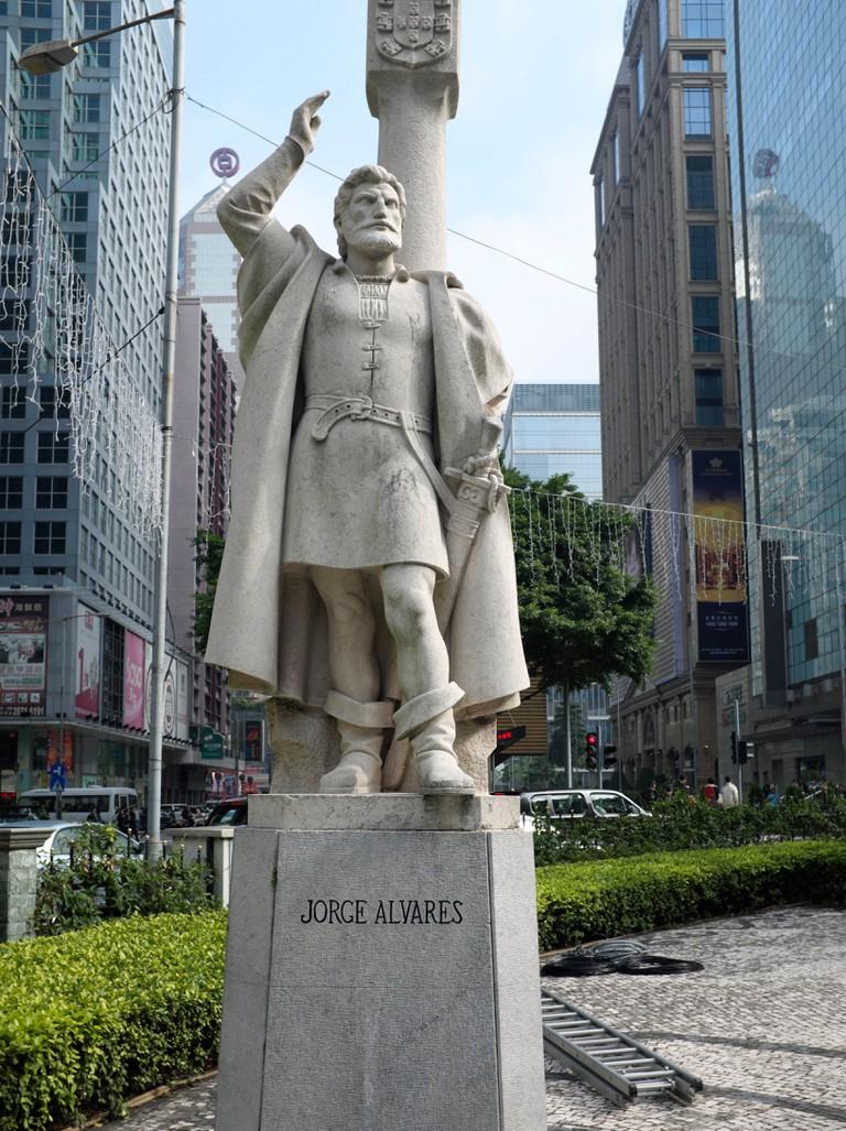 Statue of Jorge Alvares in Macau, China.