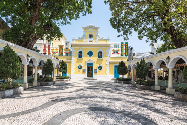 The church of St. Francis Xavier in the charming village of Coloane in Macau