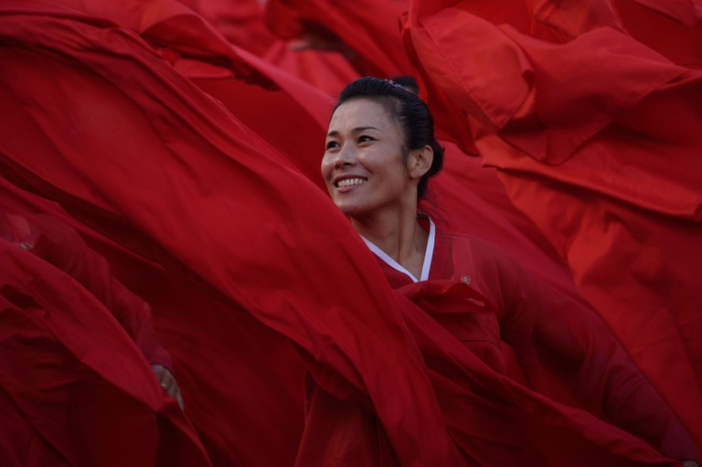 Dancers perform during a mass military parade at Kim Il-sung Square in Pyongyang