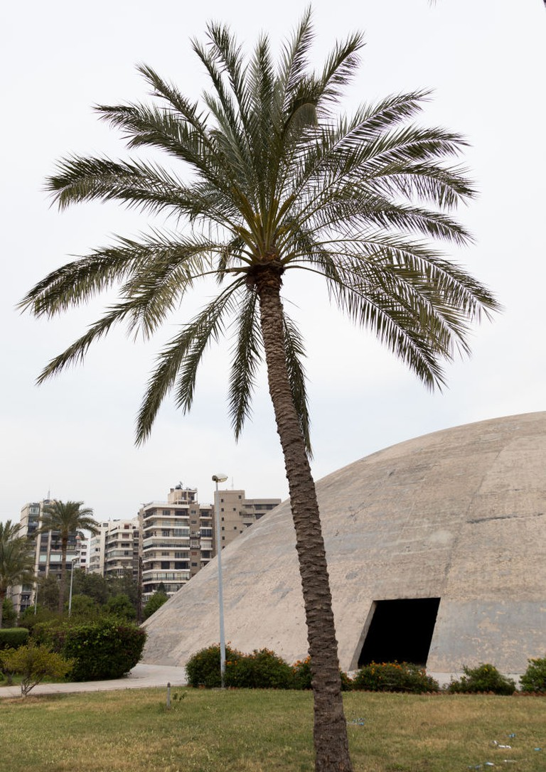 The experimental dome-shaped theatre at the Rachid Karami international exhibition center designed by Brazilian architect Oscar Niemeyer, North Governorate, Tripoli, Lebanon
