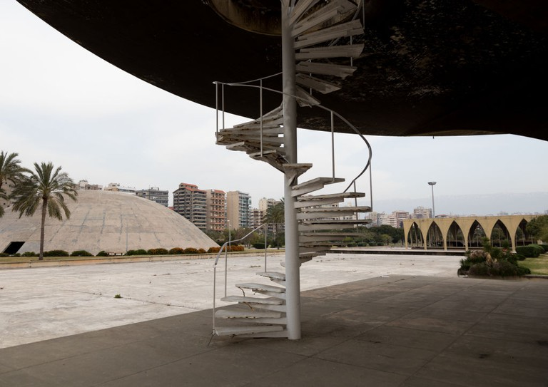 Helipad in the the Rachid Karami international exhibition center designed by brazilian architect Oscar Niemeyer, North Governorate, Tripoli, Lebanon
