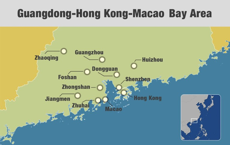 A map showing the 11 cities of China's Greater Bay Area