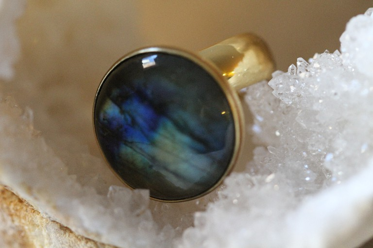 'Aurora' Labradorite Adjustable Ring in Gold Alchemia ($95)
