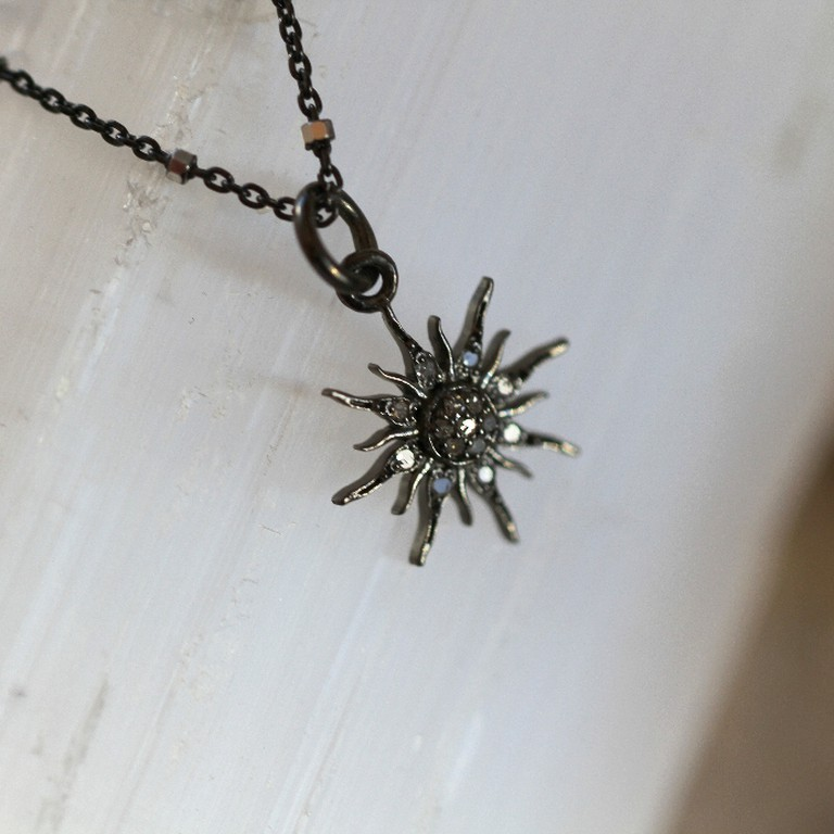 """Midnight Sun,"" Diamond Starburst on 16"" Oxidized Sterling Silver, ($120)"