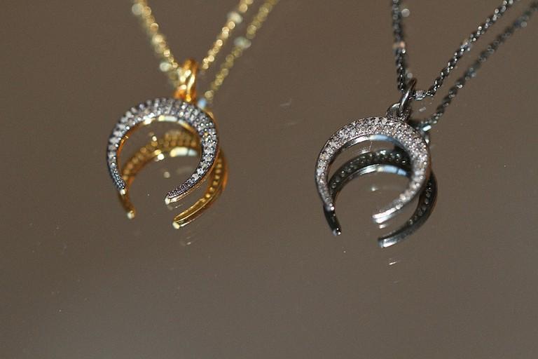 'Touchstone,' Pave diamond Torque pendant