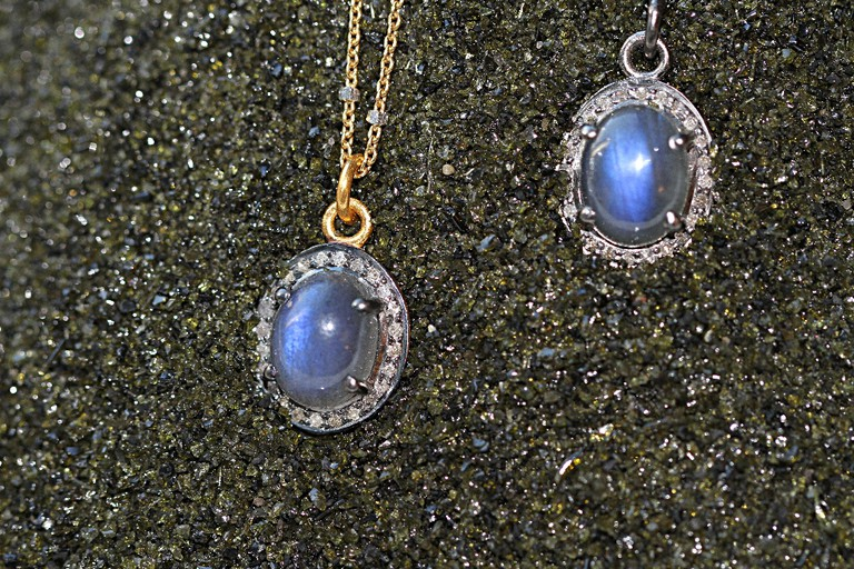 'Northern Lights,' Labradorite and Pave Diamond pendant ($135)
