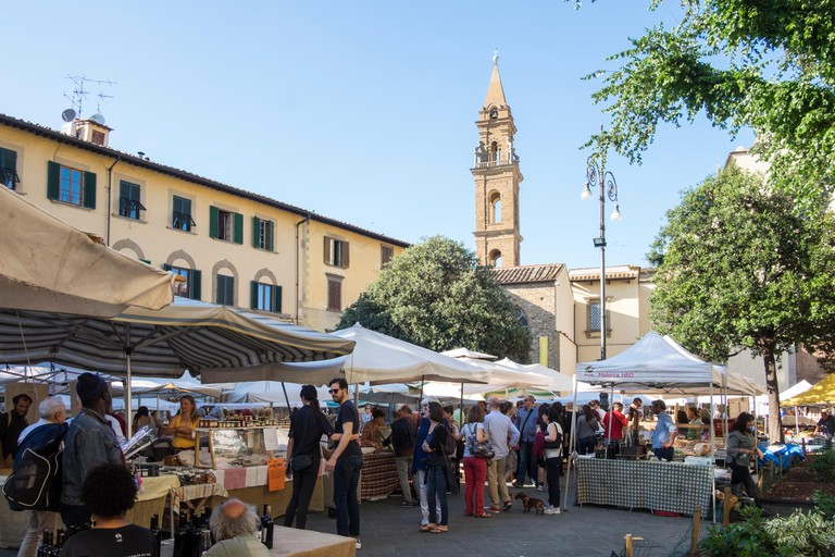 Food market in Santa Spirito, in Florence, Italy.