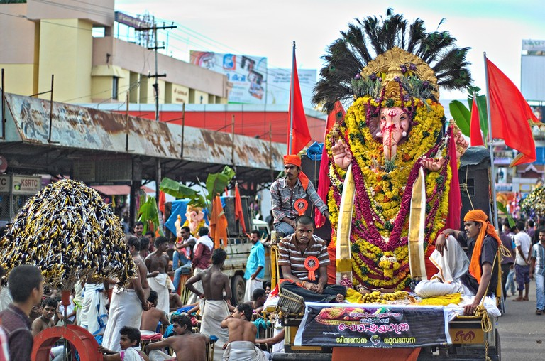 A huge procession from Pazhavangadi Ganapathi Temple to Shankumugham Beach is carried out on the last day in Thiruvananthapuram