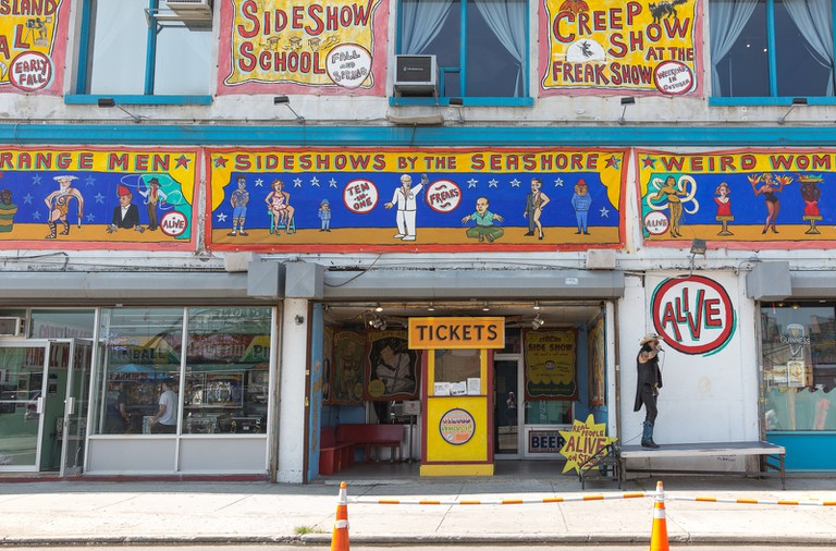 The facade of the notorious Coney Island freak show and Museum.