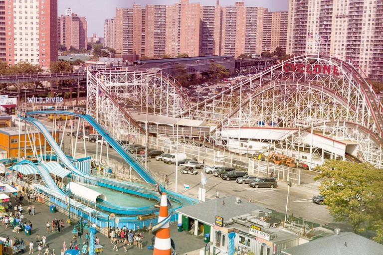The view of the iconic Cyclone rollercoaster and the Wild River log ride from the Wonder Wheel