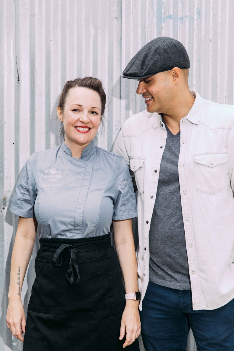 Coreen Carroll, the chef, with her husband Ryan Bush, the cannabis expert