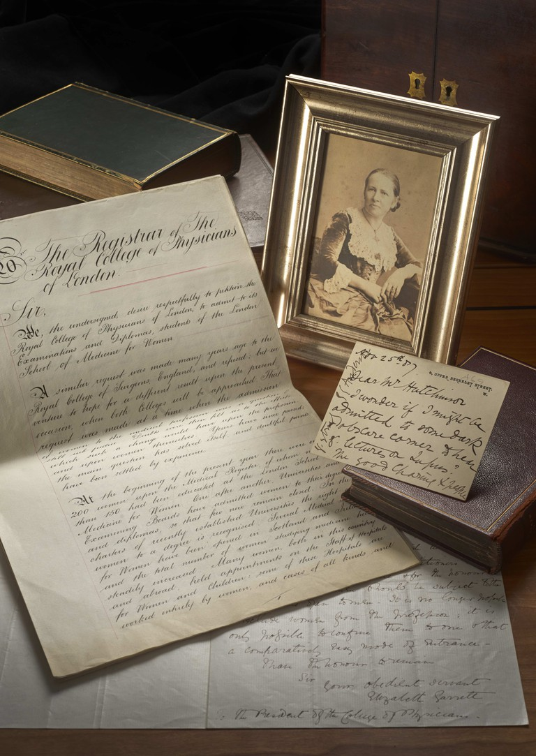 Photograph and letters of Elizabeth Garrett Anderson, petition requesting Royal College of Physicians' admission of women members, photography John Chase © Royal College - high res