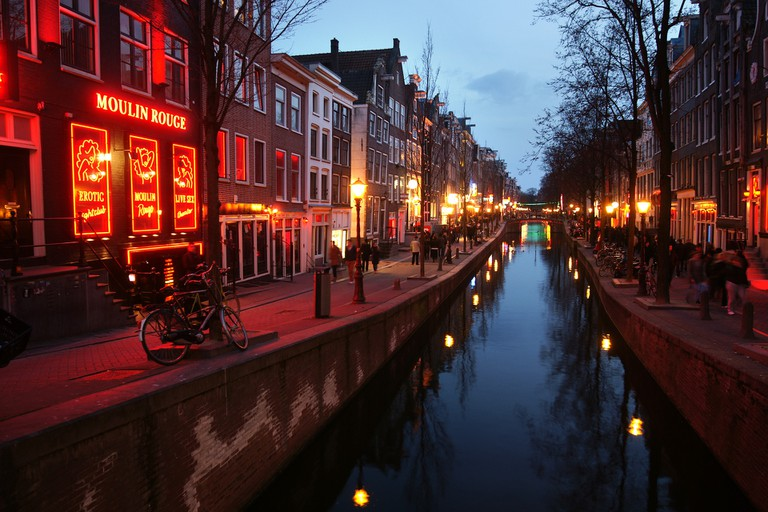 A canal in Amsterdam's Red Light District