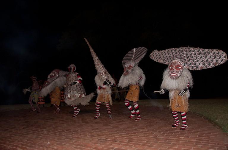 Makishi dancers, Victoria Falls, Zimbabwe