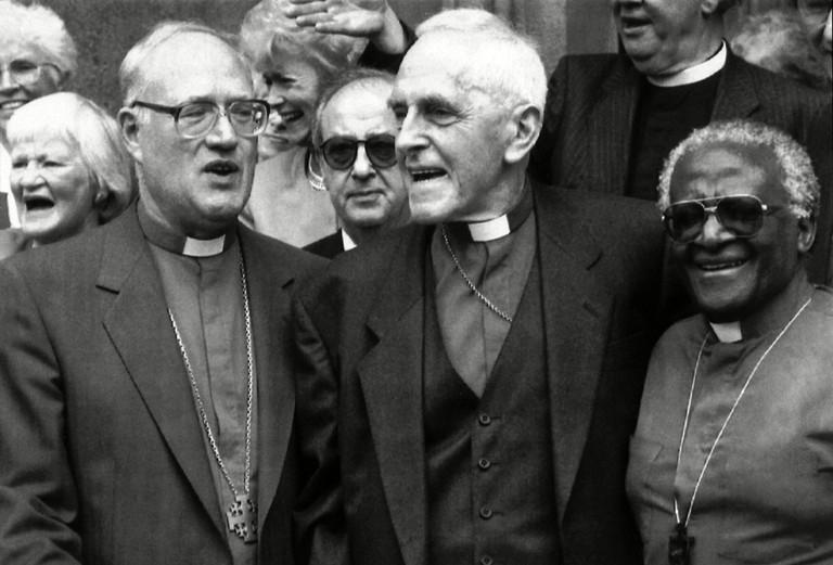Archbishop Trevor Huddleston (centre) with the Archbishop of Canterbury, Dr George Carey, and Archbishop Desmond Tutu